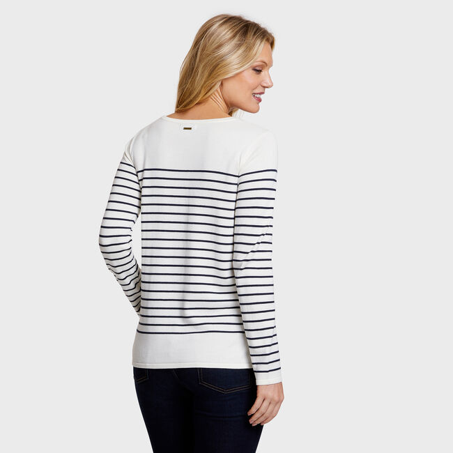 See You Soon Long Sleeve Striped Crewneck Sweater,Marshmallow,large