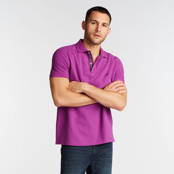 SLIM FIT PERFORMANCE MESH POLO - Electric Purple