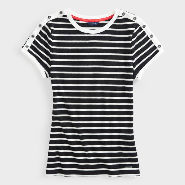 STRIPE BUTTON-SHOULDER KNIT TOP - True Black