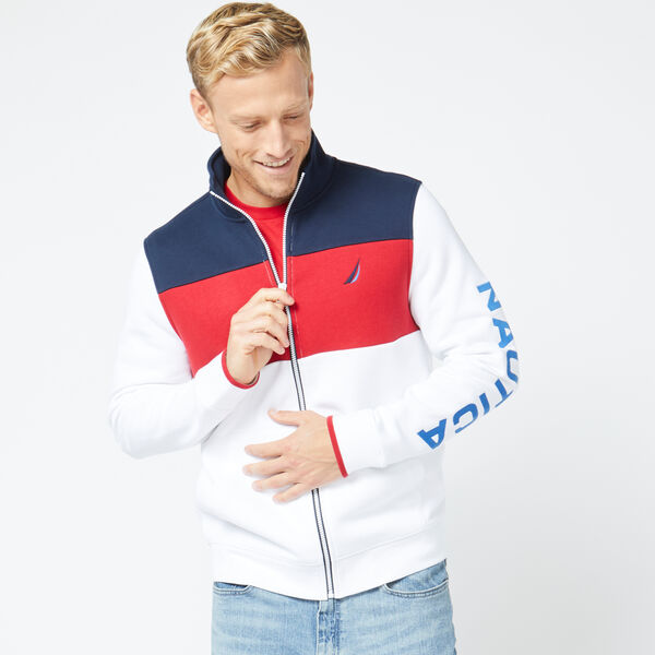 FULL ZIP MOCK NECK SWEATSHIRT - Bright White