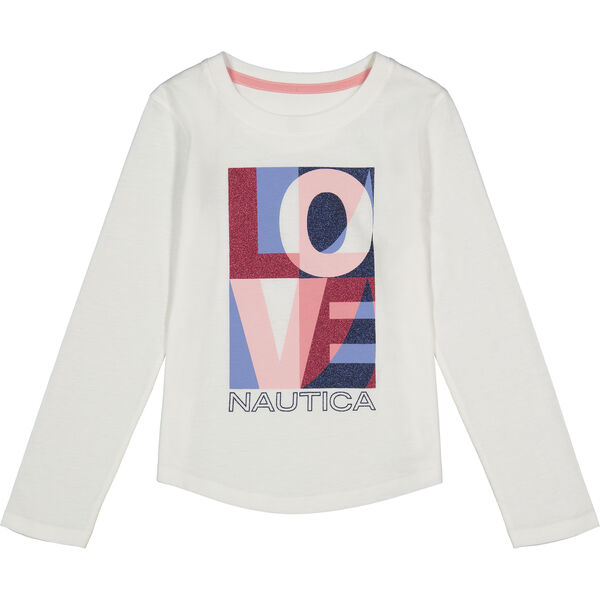 TODDLER GIRLS' LOVE GRAPHIC LONG-SLEEVE T-SHIRT (2T-4T) - Antique White Wash