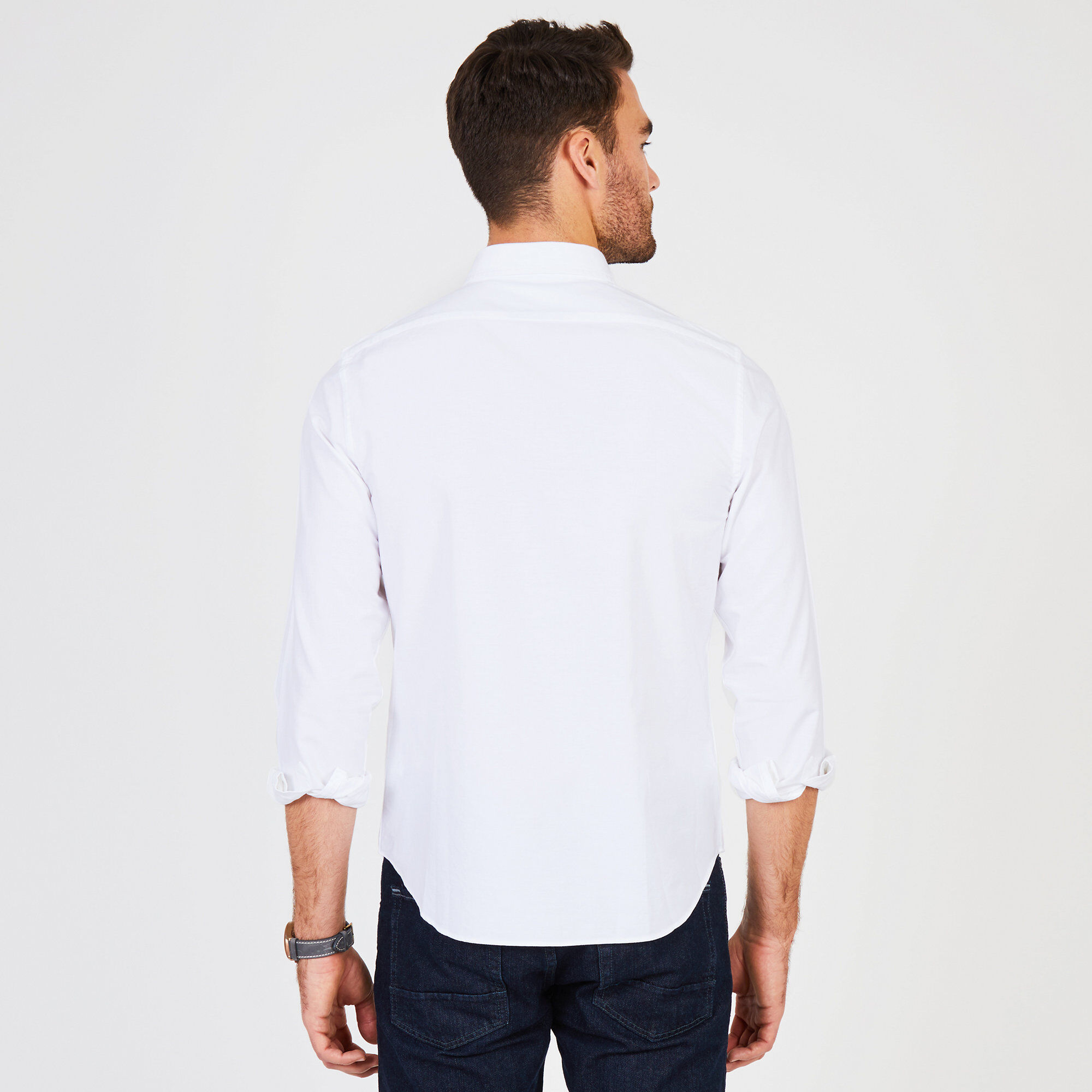 Mens Slim-Fit Dress Shirts Short Sleeve Oxford Solid Button Down Collar