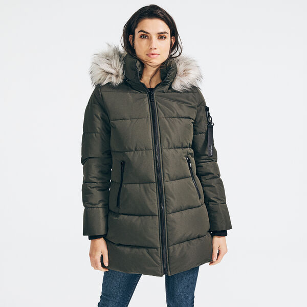 FAUX FUR TRIM HOODED PUFFER COAT - Teal Wave
