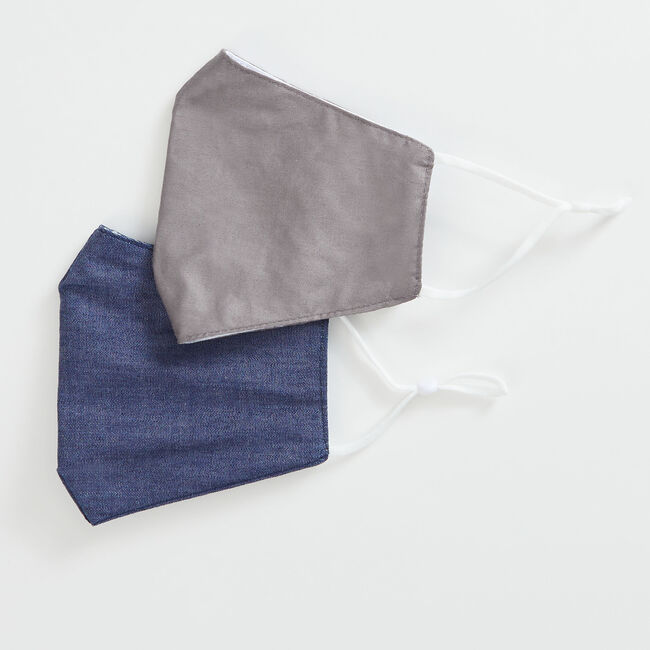 DENIM AND SOLID REUSABLE FACE MASK, 2 PACK,Grey Heather,large