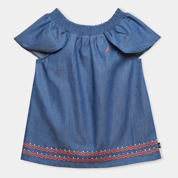 GIRLS' EMBROIDERED CHAMBRAY TOP (8-20) - Ocean Blue