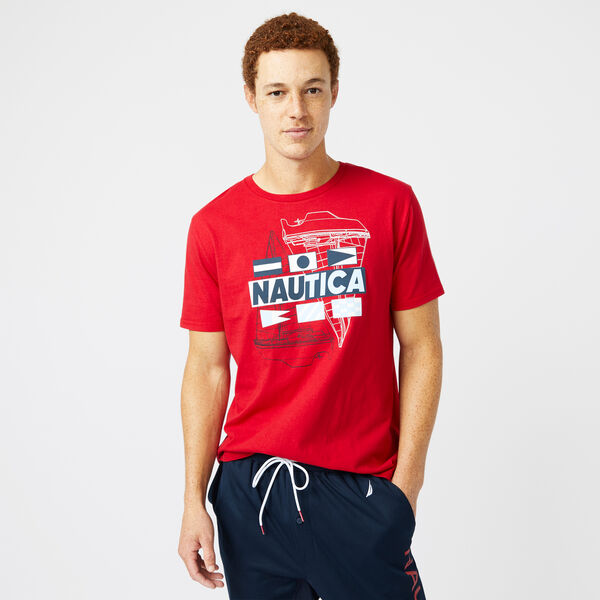 BOAT AND FLAG GRAPHIC T-SHIRT - Nautica Red