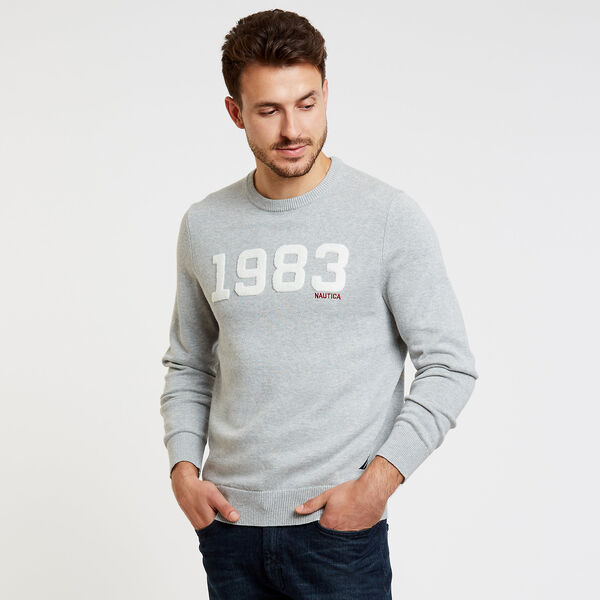 Jersey Sweater with Flocked Logo - Grey Heather