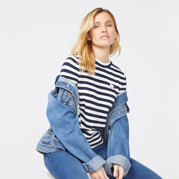 STRIPE CREW NECK LONG SLEEVE SWEATER - Stellar Blue Heather