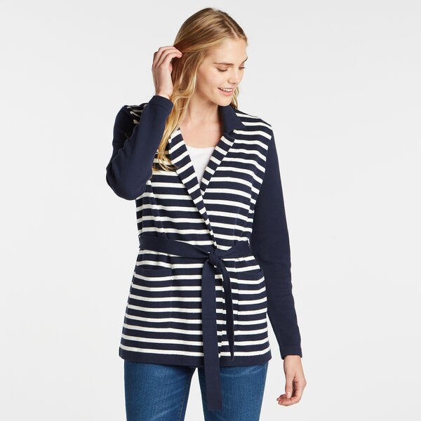 STRIPE TIE-WAIST CARDIGAN - Stellar Blue Heather