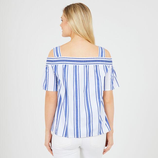 Off-the-Shoulder Striped Top,Bright Cobalt,large