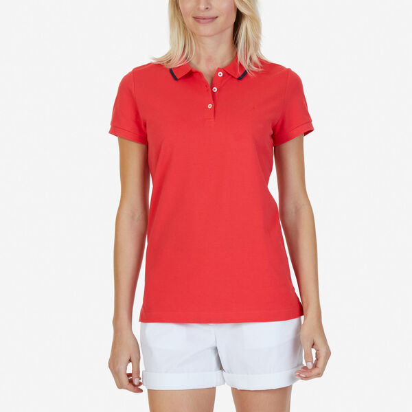 Classic Fit Polo with Tipped Collar - Tomales Red