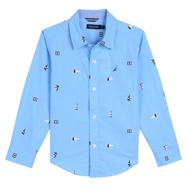 Boys' Aloha Chambray Shirt in Flag Print (8-20) - Classic Blue
