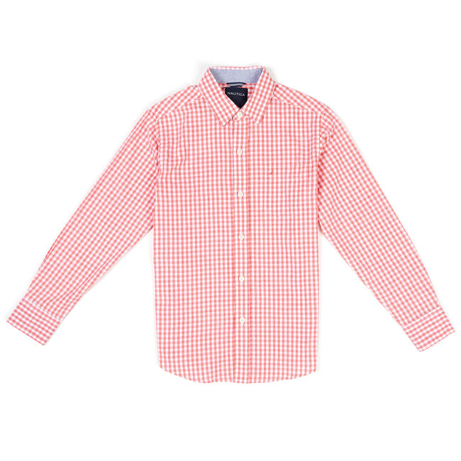 Boys' Stretch Gingham Long Sleeve Button Down (8-20),Reckoning Red,large
