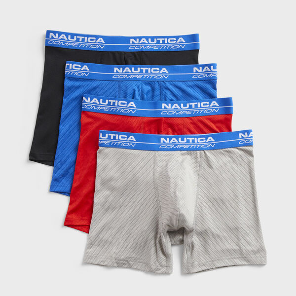 COMPETITION LOGO MESH BOXER BRIEFS, 4-PACK - Gray
