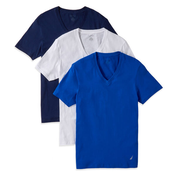 V-Neck T-Shirts, 3-Pack - Navy
