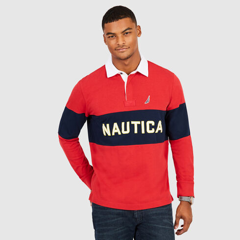Long Sleeve Colorblock Logo Classic Fit Polo - Rescue Red