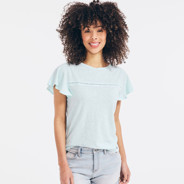 FLUTTER-SLEEVE LINEN TOP - Aqua Splash