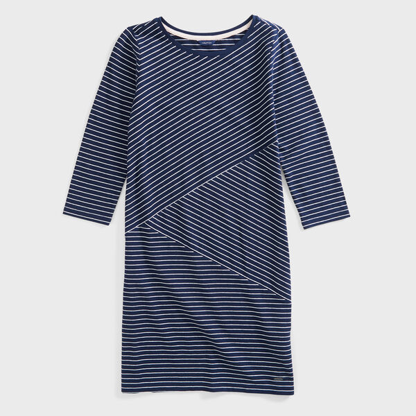 STRIPE KNIT DRESS - Stellar Blue Heather