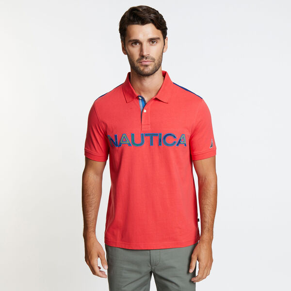 Kauai Short Sleeve Logo Classic Fit Polo - Buoy Red