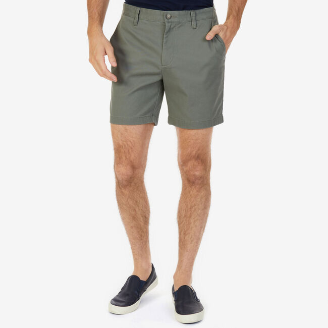 "Stretch Twill Flat Front Classic Fit Shorts - 6"" Inseam,Hillside Olive,large"