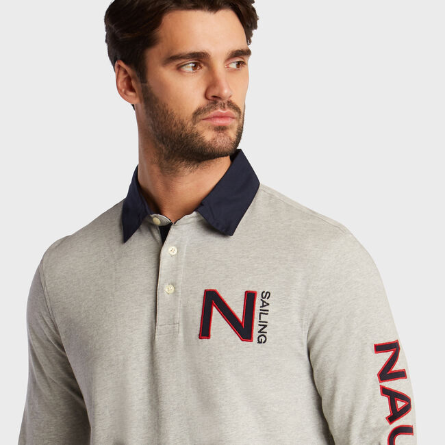 Long Sleeve Classic Fit Rugby Active Polo,Grey Heather,large