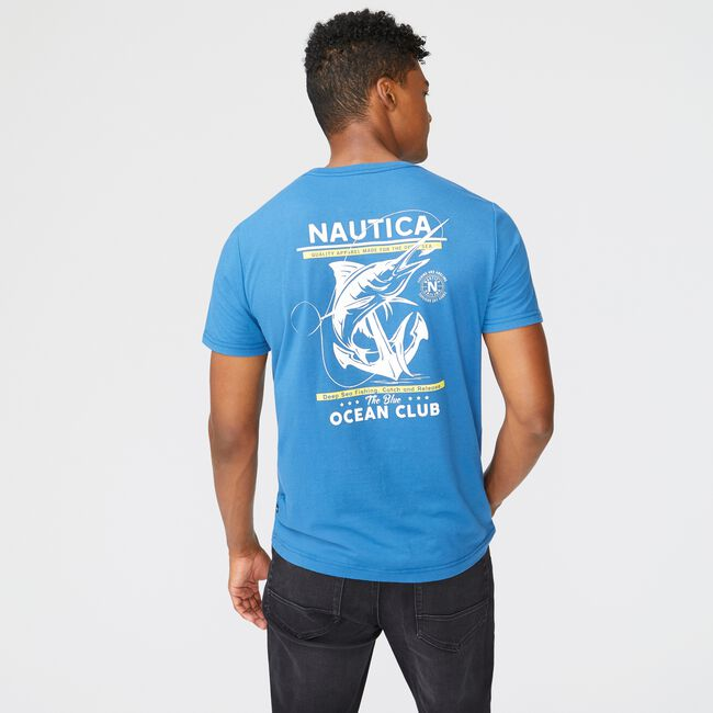SUSTAINABLY CRAFTED FISH GRAPHIC T-SHIRT,Pure Adriatic Sea Wash,large