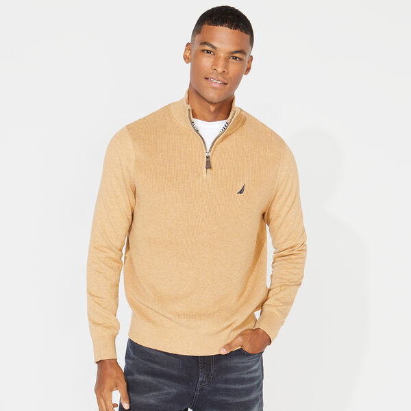 QUARTER ZIP RIBBED FRONT SWEATER - Camel Heather
