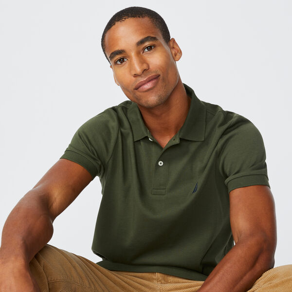 SLIM FIT INTERLOCK POLO - Olive