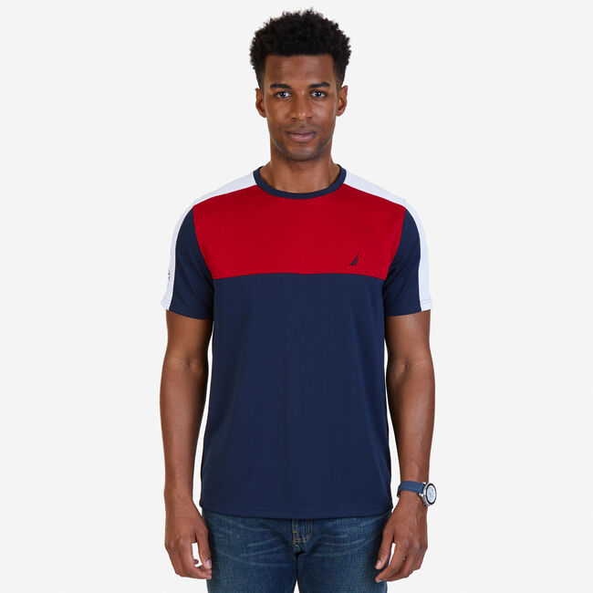 Color Block Wicking T-Shirt,Navy,large