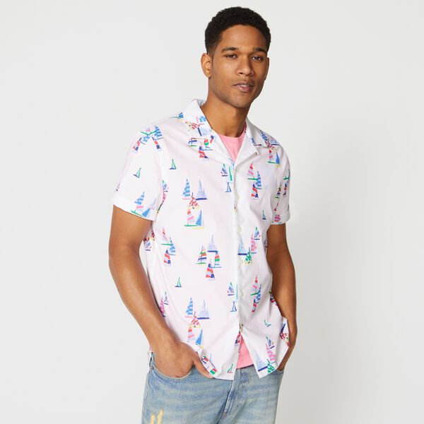 CLASSIC FIT BOAT PRINT CAMP SHIRT - Bright White
