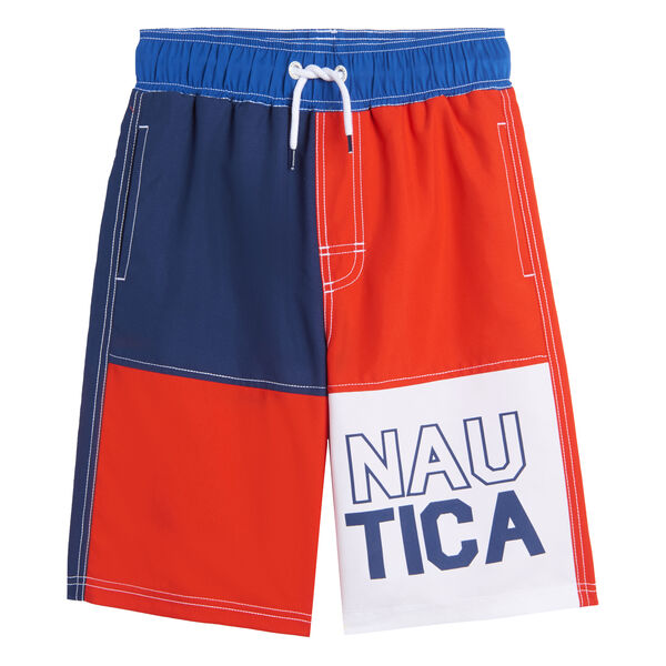 LITTLE BOYS' COLORBLOCK LOGO SWIM SHORT (4-7) - Hibiscus
