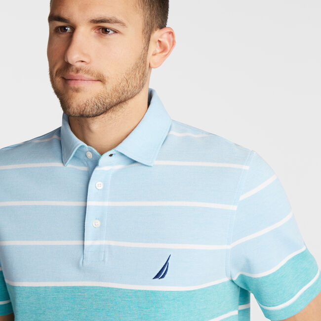 CLASSIC FIT OXFORD POLO IN VARIEGATED STRIPE,Alaskan Blue,large