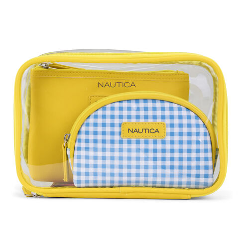 Gingham Travel Case Trio - French Blue