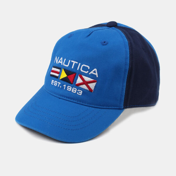 KIDS' COLORBLOCK EMBROIDERED FLAG CAP - Capri Blue