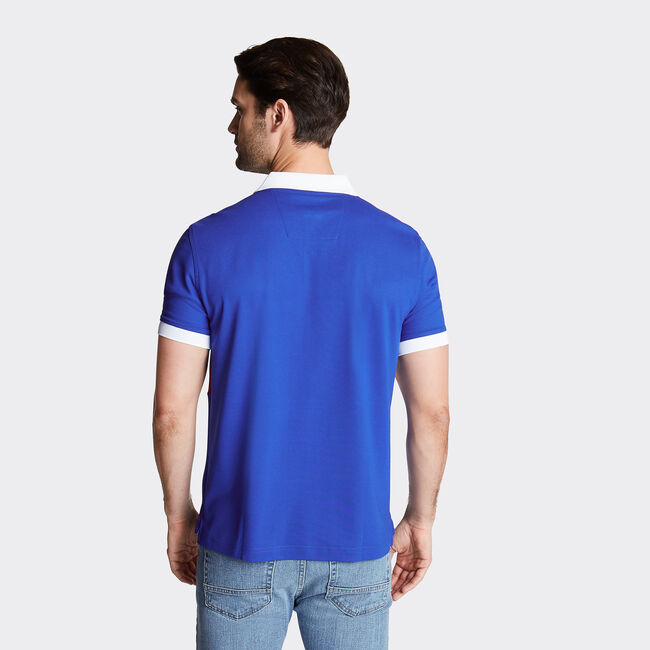 Classic Fit Colorblock Performance Polo,Bright Cobalt,large