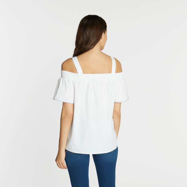 COLD SHOULDER EMBROIDERED TOP,Bright White,large