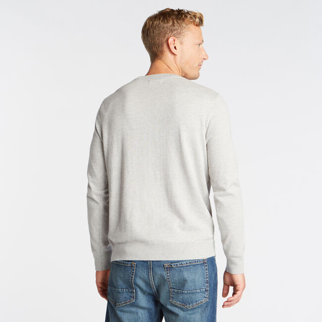 CREWNECK RIBBED FRONT SWEATER,Grey Heather,large