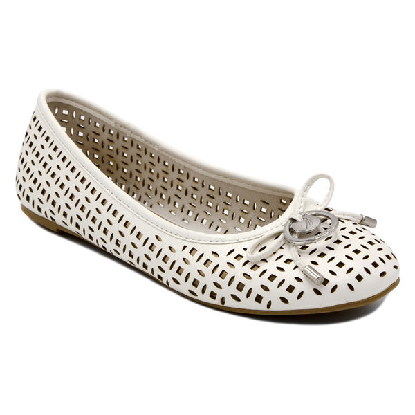 Seaback Ballet Flats in White - Antique White Wash