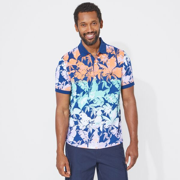 CLASSIC FIT LEAF PRINT POLO - Estate Blue