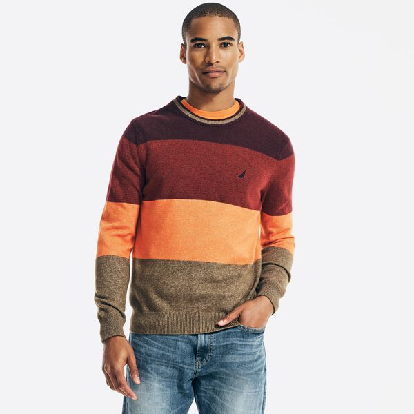 SUSTAINABLY CRAFTED COLORBLOCK SWEATER - Flamingo