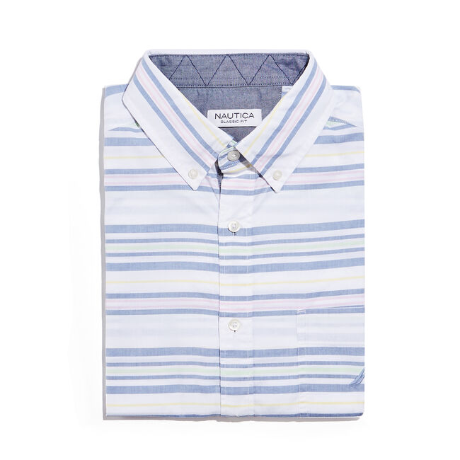 CLASSIC FIT SHORT SLEEVE SHIRT IN MIXED STRIPE,Bright White,large