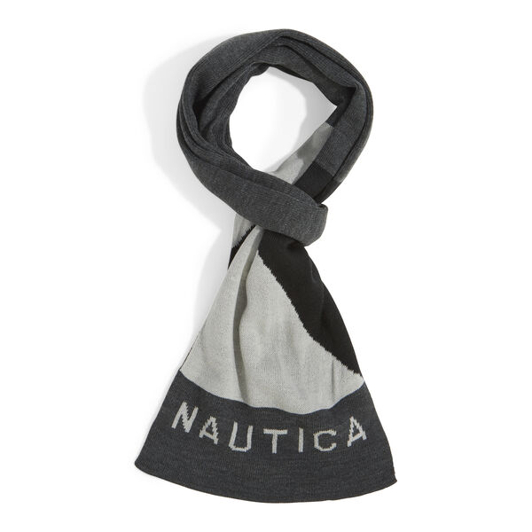 KNIT NAUTICAL LOGO SCARF - Grey Heather
