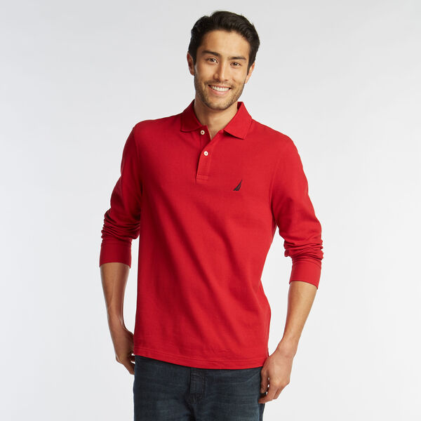 CLASSIC FIT LONG SLEEVE POLO - Nautica Red