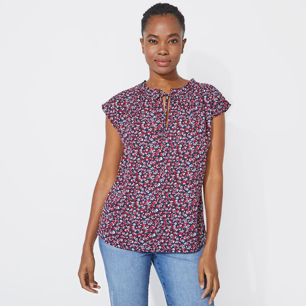 FLORAL PRINT DOLMAN TOP - Stellar Blue Heather