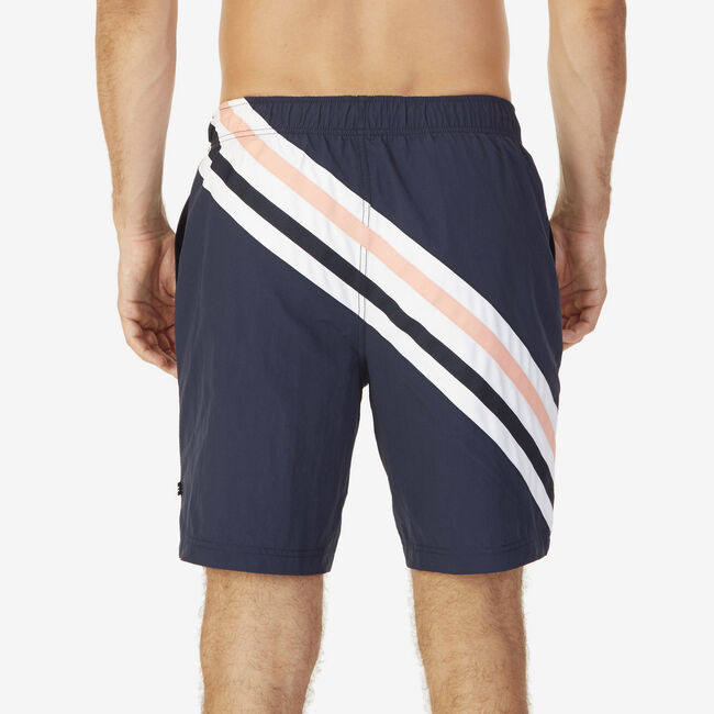 Quick-Dry Striped Swim Trunks,Navy,large
