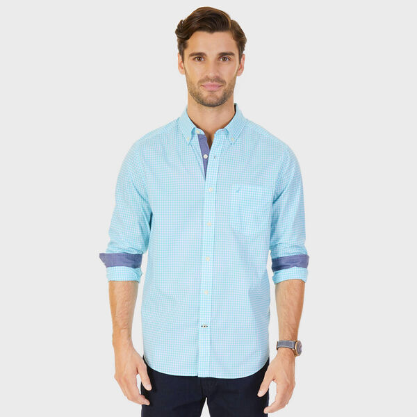 Poplin Classic Fit Gingham Button-Down Shirt - Bali Bliss
