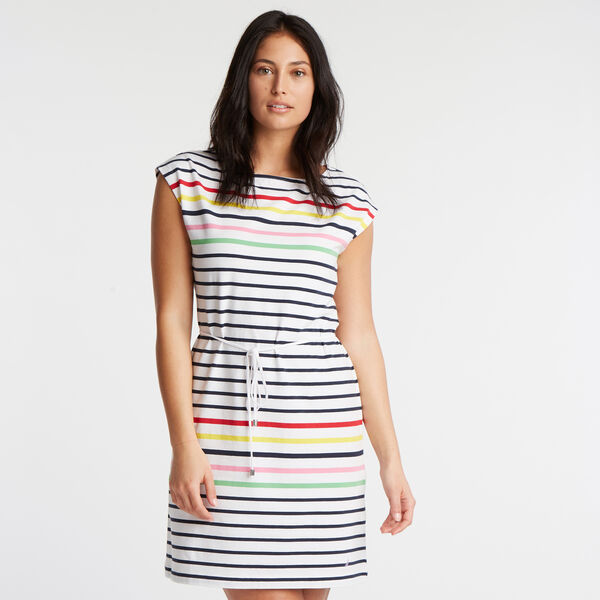 JERSEY SHIFT DRESS IN STRIPE - Bright White