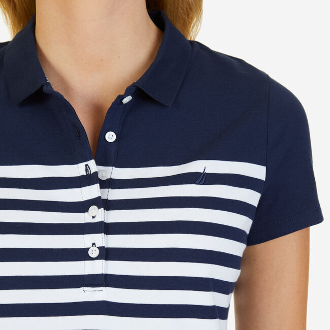 Striped Classic Fit Polo Shirt,Stellar Blue Heather,large