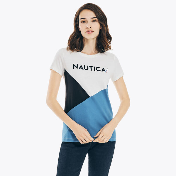 SUSTAINABLY CRAFTED COLORBLOCK LOGO GRAPHIC T-SHIRT - Marshmallow