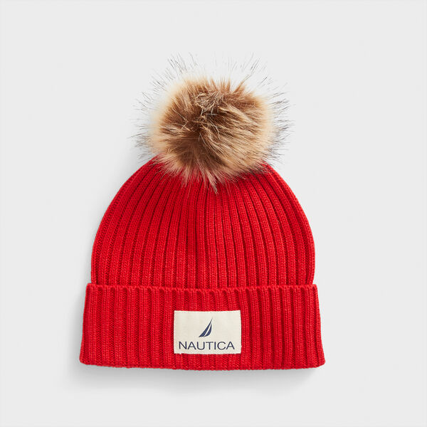 RIBBED-KNIT POM-POM BEANIE - Tomales Red
